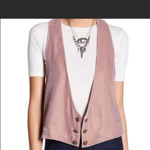 Velvet Vibes vest in Heathered Pink XS